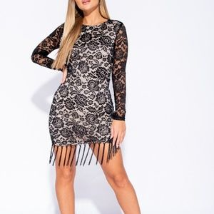 Parisian Dresses - Black Lace Bodycon Dress • Sheer Sleeve